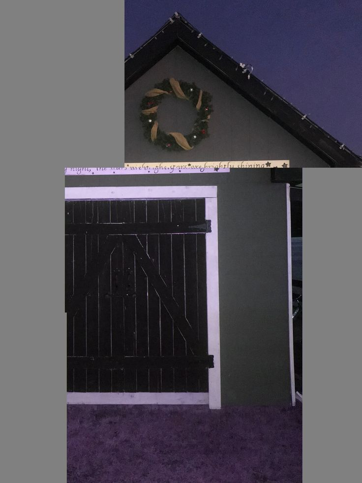 Simple stenciled sign that started in the house and now hangs above the doors to my shed.