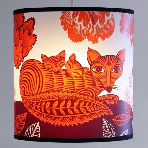 fox & cub lampshade - large - orange