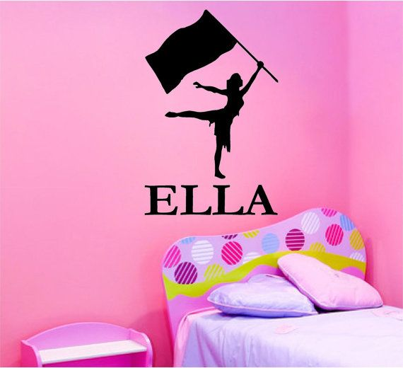 Vinyl Wall Decal Silhouette......Color Guard Silhouette - 28h x 22 w plus Free personalization sports vinyl decal.  I LOVE THIS SO MUCH!!!!!