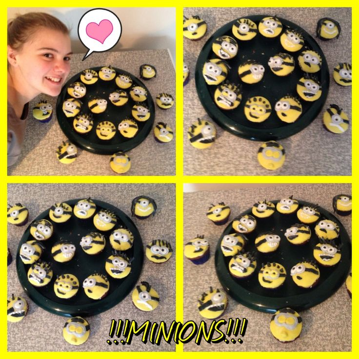 Melissa's Minion Cupcakes for birthday tmrw. :)
