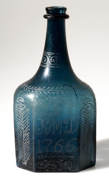Blue Etched Glass Bottle, Skane Glassworks (1691-1762), Sweden, 1766 [?]