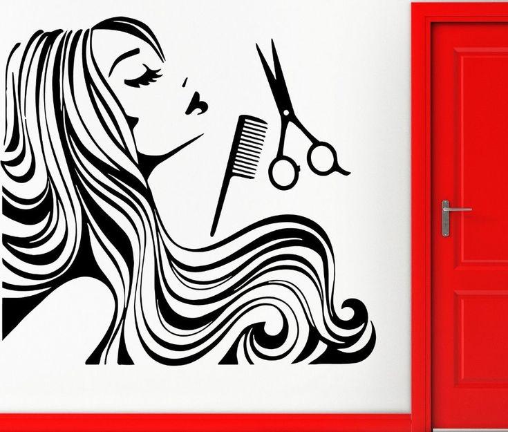 Nova Chegada de Cabelo Loja Decalque Da Parede Do Vinil Cabelos Longos Sexy Girl Spa Barber shop Hair Salon Loja Janela De Adesivos de Parede Decoração De Vidro(China (Mainland))