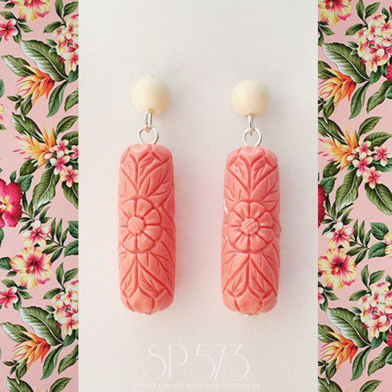 Pink Earrings Craved flower Ivory Salmon Pink Earrings by sp573