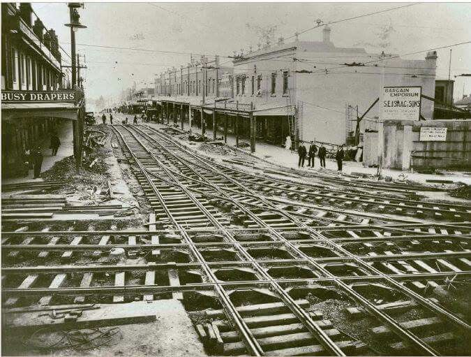 Tram tracks looking down Willoughby Rd at Crows Nest Junction in 1920. State Library of NSW.