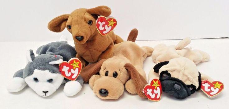 TY Original Beanie Babies Nanook Bones Pugsly Weenie Dogs Set of 4 PVC Pellets #Ty #Beanie