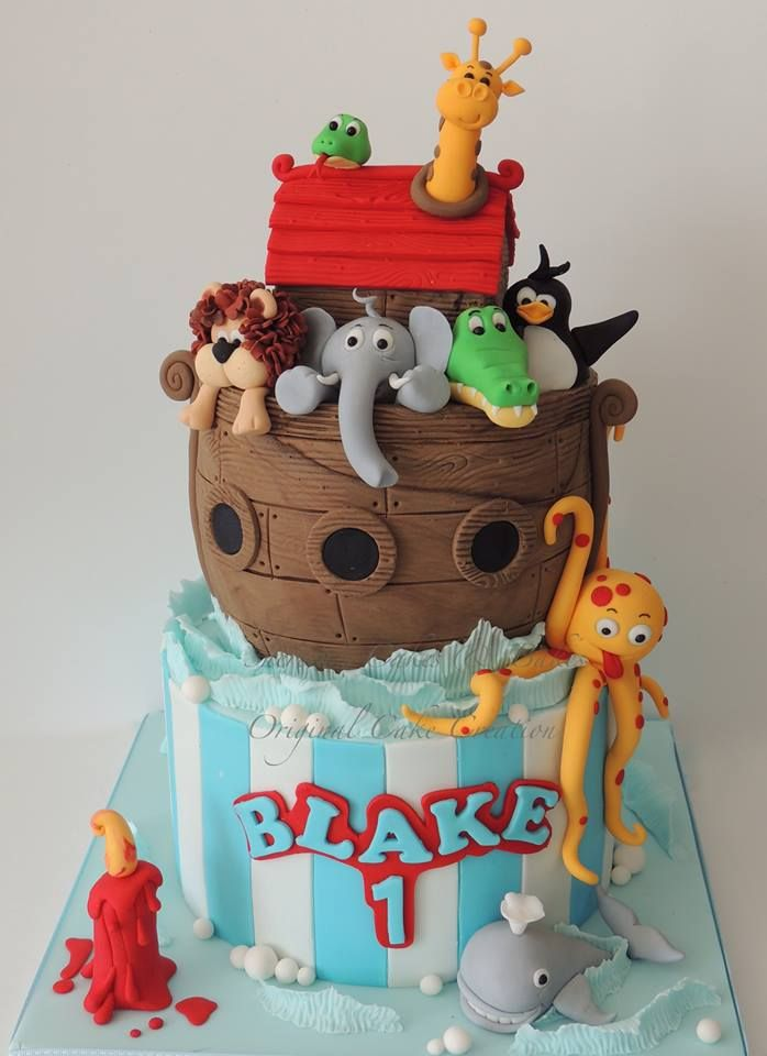 Noah's Ark - *My very favourite kids novelty cake I think, 10 hours work decorating and I loved it!