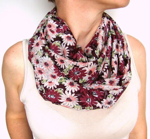bordó virágos körsál, sál scarf, looping scarf