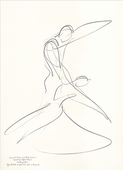 Drawing by Stanley Roseman of Paris Opera star dancers Laurent Hilaire and Isabelle Guerin, La Bayadere, 1995, Private collection, London.