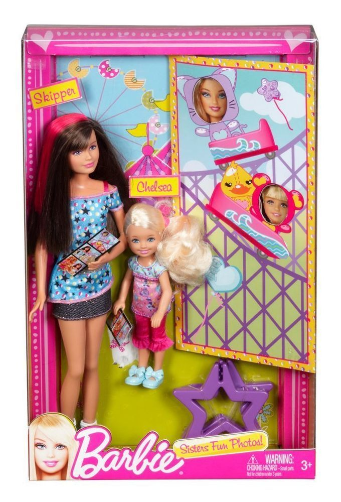 BARBIE SISTERS FUN PHOTOS SKIPPER & CHELSEA DOLL 2 PACK Playset Play Set NEW