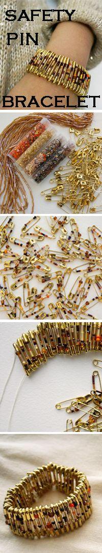 Make a bracelet from safety pins!
