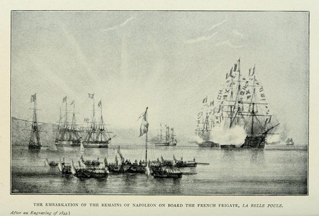 The embarkation of the remains of Napoleonon board of the french fregate 'La Belle Poule',  after an engraving of 1844    The Drama of Saint Helena, by Paul Frémeaux, translated from the French by Alfred Rieu, B.A. Cantab and the author.