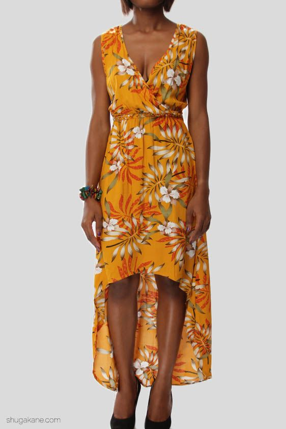 Bamboo Print Variated Hem Maxi Dress