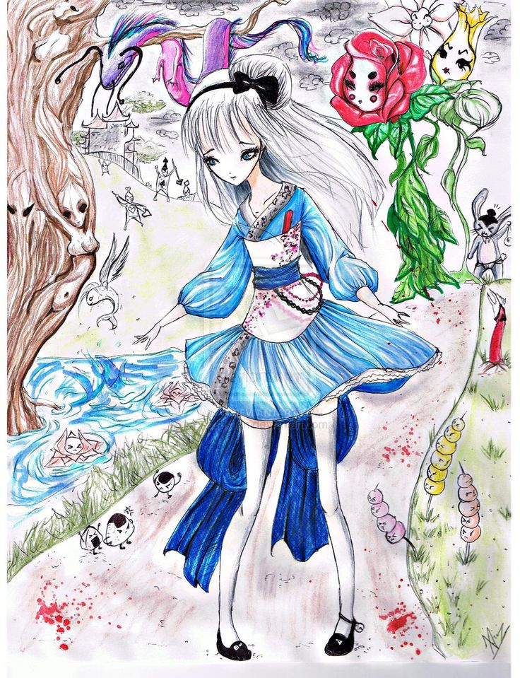 """Alice in Wonderland? by aznxtian.deviantart.com on @deviantART - First in a series of Asian-inspired re-imaginings of Disney girls: Alice from """"Alice in Wonderland"""". In particular, she looks like she's wearing a Wa Lolita dress: a Lolita style inspired by traditional Japanese clothing."""