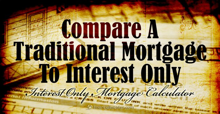 Interest Only Mortgage Calculator: compares side-by-side the monthly payment for an interest-only mortgage to a conventional principal and interest mortgage.