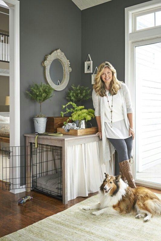 great idea for hiding the crate d co pinterest pensionnats cage chien et accessoires animaux. Black Bedroom Furniture Sets. Home Design Ideas