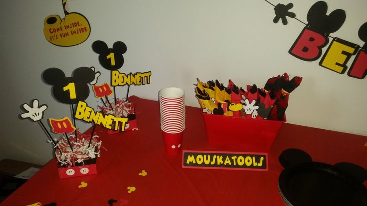 Mickey Mouse food tents. Mickey Mouse Clubhouse birthday decor. Mickey Mouse Birthday. Mouskatools by VannessasCreations on Etsy https://www.etsy.com/listing/266945411/mickey-mouse-food-tents-mickey-mouse