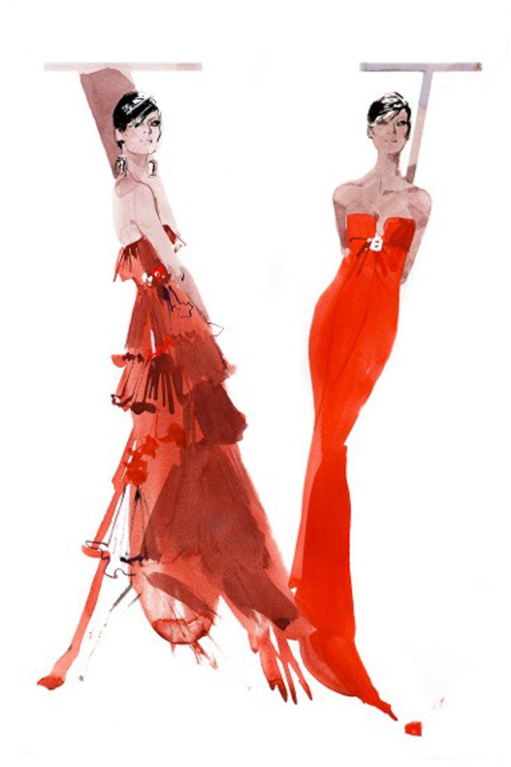 David Downton shares his Valentino illustrations to mark the designer's London exhibition (Vogue.com UK)