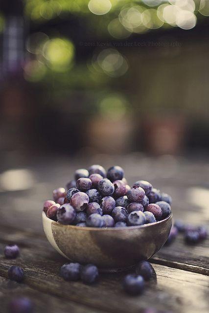 fresh picked summer blueberries.