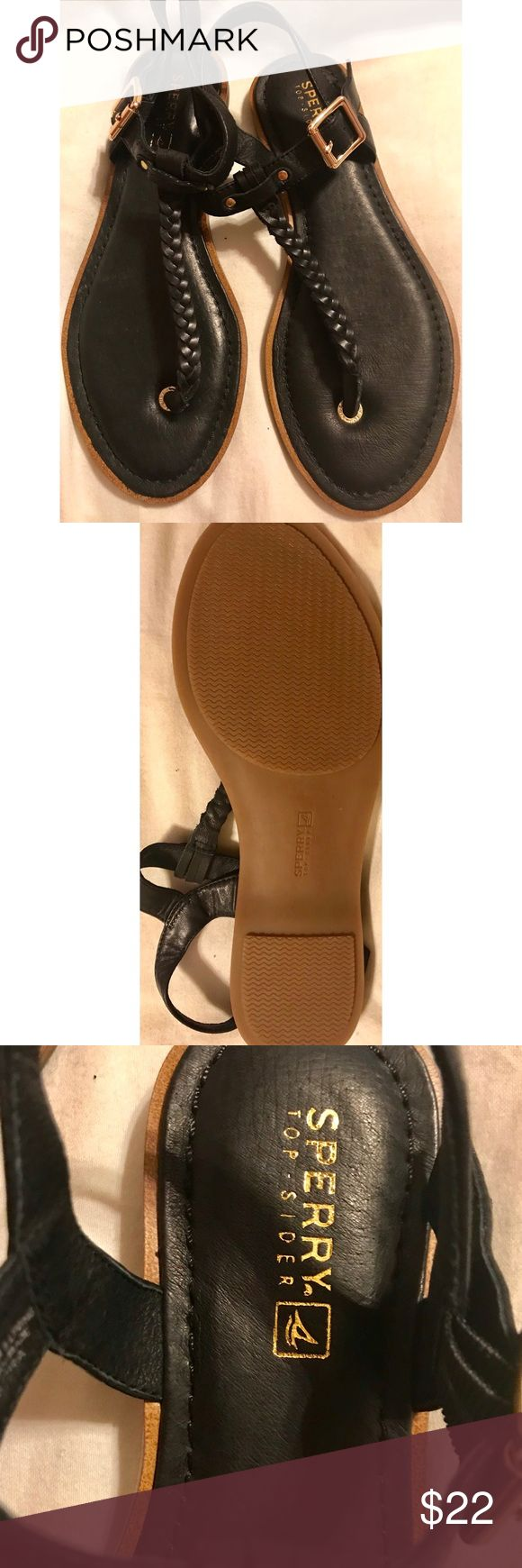 Black Leather Sperry sandals, worn once! Black leather Sperry sandals with gold buckle, worn once, absolutely perfect shape! Size 7 Sperry Shoes Sandals
