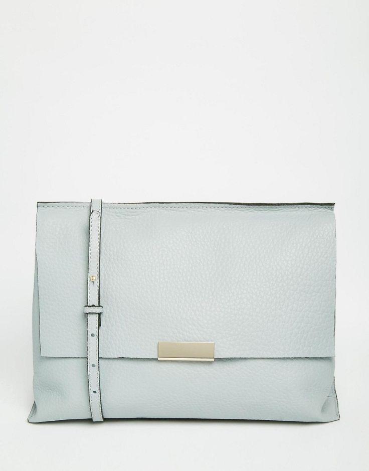 Image 1 ofASOS Premium Leather Metal Handle Shoulder Bag