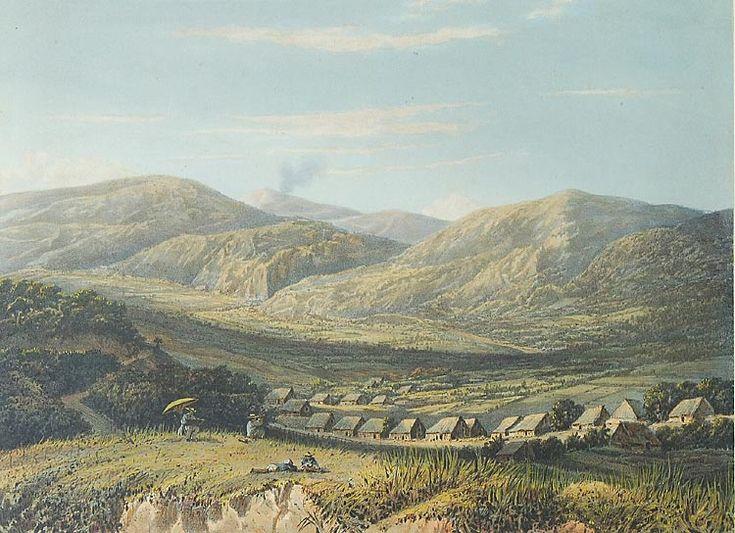 Berglandschap in de Tengger. Litho naar een oorspronkelijk schilderij van A. Salm. Op de voorgrond links is vermoedelijk de schilder Salm afgebeeld, die onder een parasol aan het tekenen is. 1865-1872. 26,4 x 36,3 cm