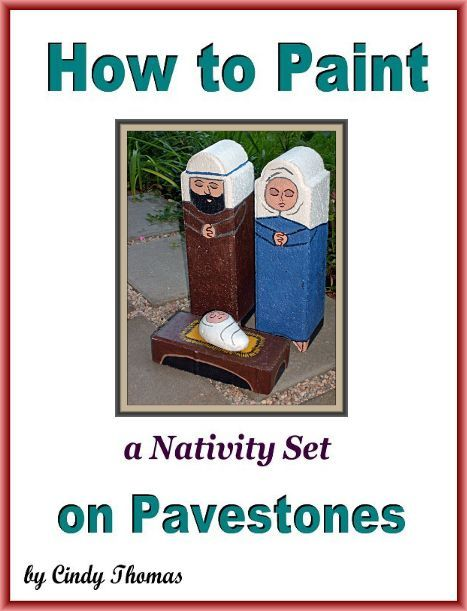 How to Paint a Nativity Set on Pavestones - In this guide, you'll learn how to paint the nativity set pictured which includes a brick manger, rock Baby Jesus, Joseph and Mary edgestone pavers.