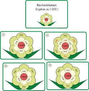 http://www.mathemonsterchen.de/mediapool/107/1074893/data/Dateien_2015/Rechenblumen_Erg_nzen_zu_1000.pdf: Rechenblumen, Mathe, 3.Klasse, Zahlenraum bis 1000, ergänze die Zahl bis 1000 in der Blume, Addition, rechnen, ergänzen