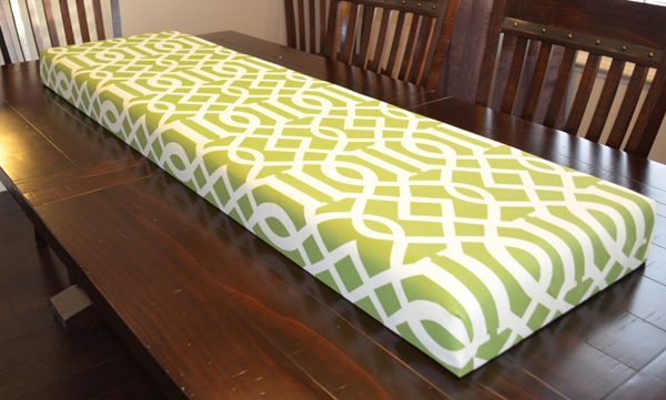 Step by Step- How to Upholster a Bench Seat from Lowe's which carries 3-inch foam pads $19 dollars each