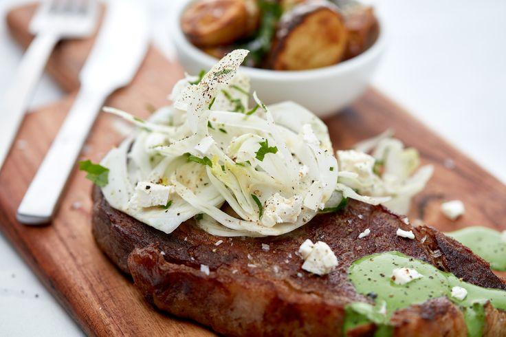 Steak with Sauce Verde, Roast Potatoes and Fennel Salad