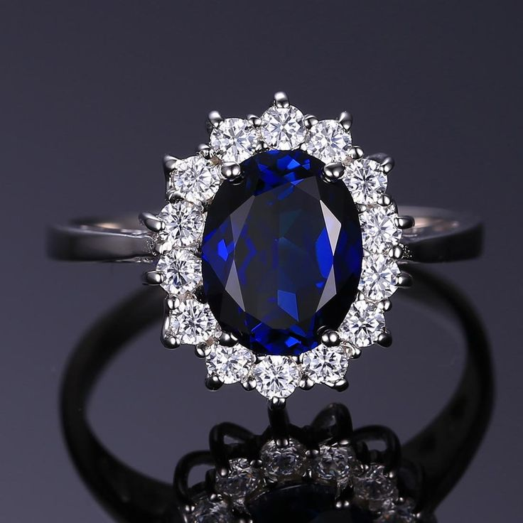 Jewelrypalace Solid Sterling Silver 2.1ct Created Blue Sapphire Kate Middleton's Princess Diana Engagement Ring Size 5