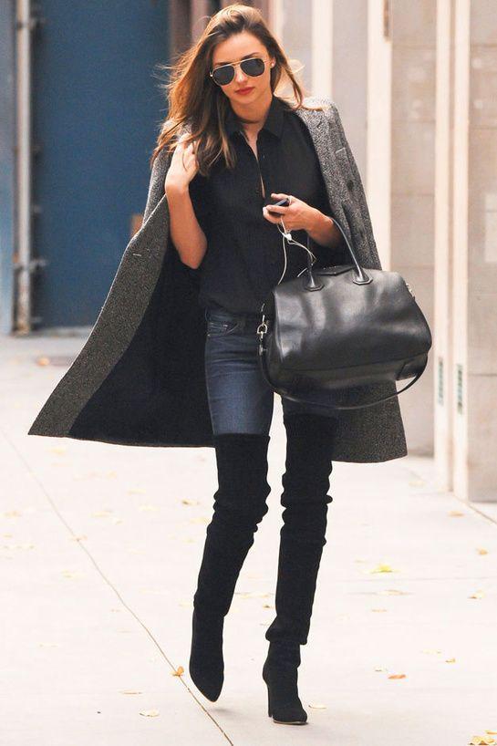 Miranda Kerr in Stella McCartney coat / Antigona Givenchy bag / Oliver Peoples sunglasses / Balmain shoes