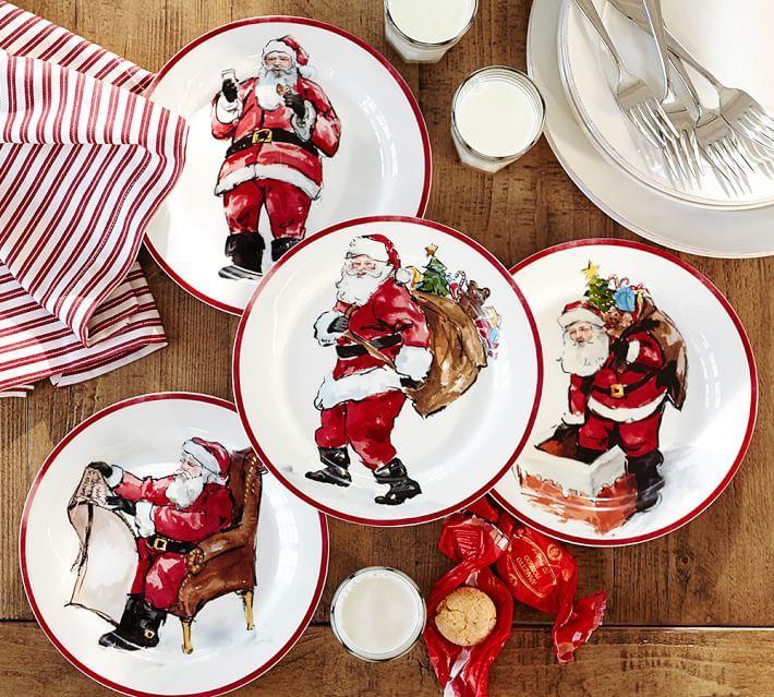 Painted Santa Claus Dinnerware Holiday Dinnerware