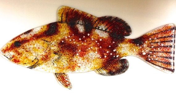 FUSED GLASS FISH. Red Grouper Glass Saltwater Fish by 1550Art