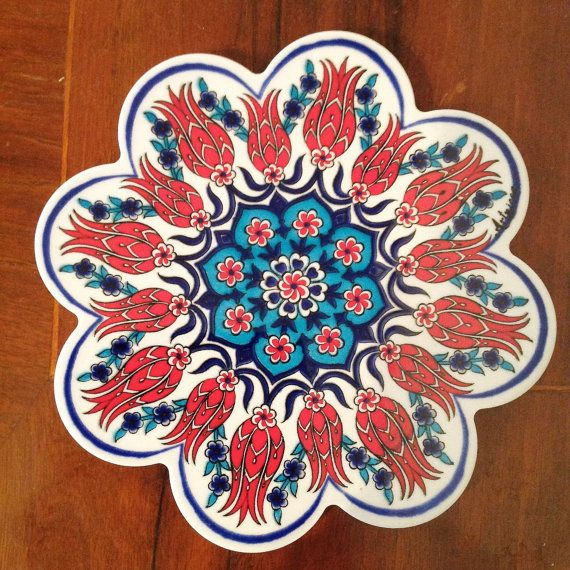 Turkish tile ceramic hot plate pot trivet tulip
