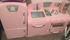 Kidkraft Retro KITCHEN PLAYSET, Sturdy Wooden Refrigerator& PLAY KITCHEN, Pink