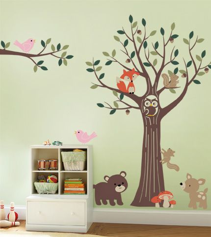 Tree with Forest Friends - Simple Shapes Wall Decals, Furniture, and Accessories