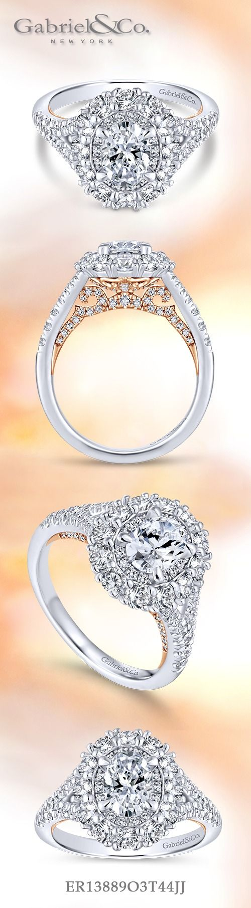 Gabriel & Co.-Voted #1 Most Preferred Fine Jewelry and Bridal Brand.  14k White/Rose Gold Oval Double Halo  Engagement Ring