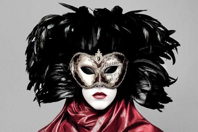 beautiful, feathers, make-up, mask, mysteries - inspiring picture on ...