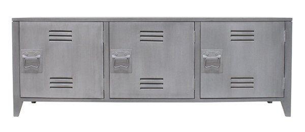 HK-living TV meubel grijs hout 57x160x40cm