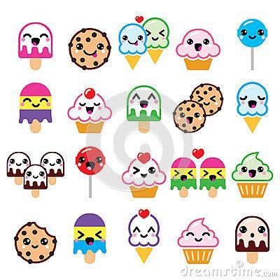 Caractères mignons de nourriture de Kawaii - petit gâteau, glace, biscuit, icônes de lucette
