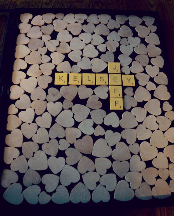 Alternative Wedding Guest Book -Wood Heart Guestbook - Scrabble Wedding - Original Personalized Custom Guestbook