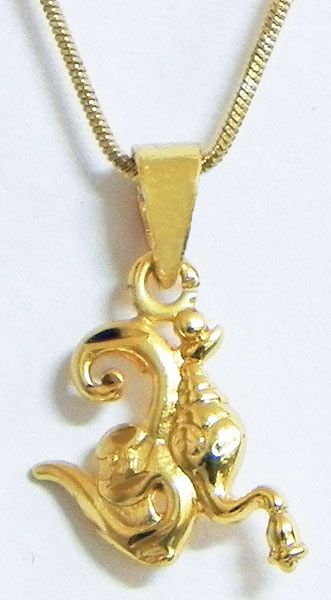Gold Plated Pendant with Chain - Om with Ganesha Face (Metal)