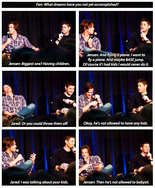 Why Jensen said Jared wasn't allowed to babysit his children. <3 #TigerBaby #SupernaturalCast #J2