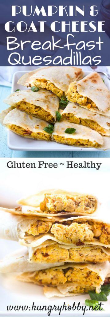 Healthy Pumpkin & Goat Cheese Savory Breakfast Quesadillas recipe via www.hungryhobby.net
