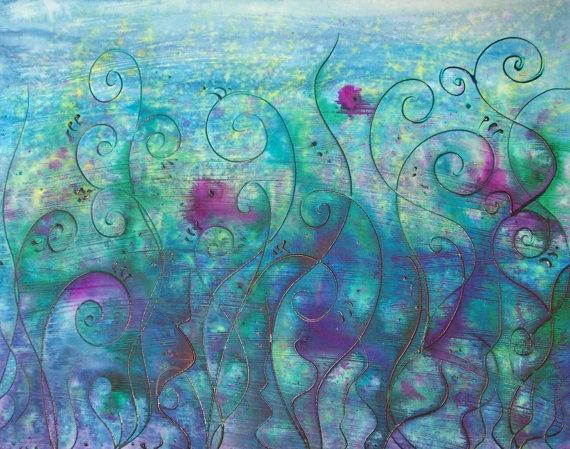 Pthalo Blue Water Garden Original Watercolor Painting on Canvas: Paintings On Canvas, Art Watercolor, Watercolor Paintings, Originals Watercolor, Paintings Night, Water Garden