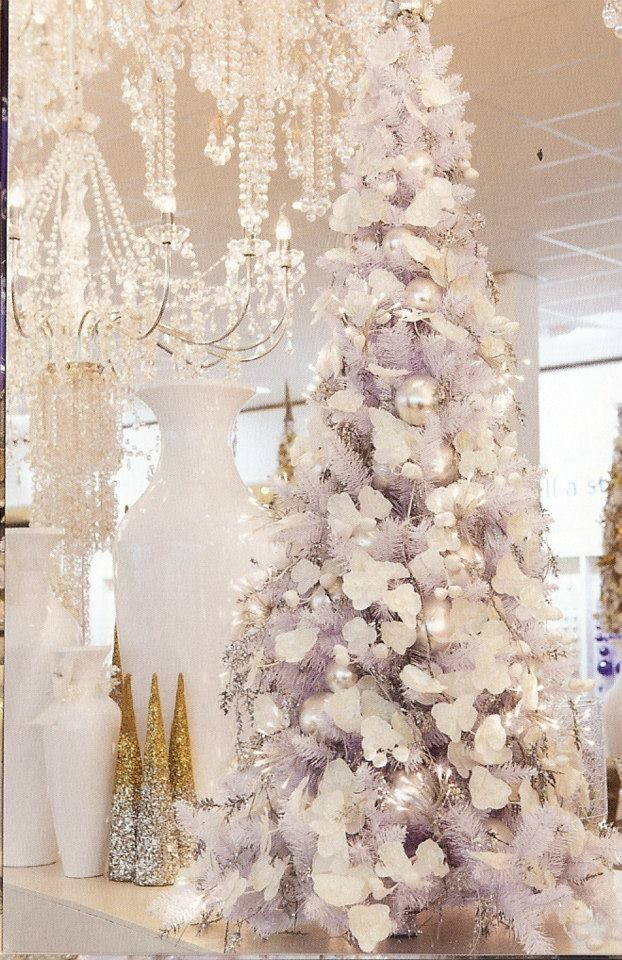 lavender christmas tree decorated with white - White Christmas Decorations