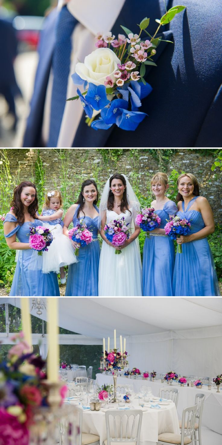 Traditional White Wedding At The Rectory In Wiltshire With Bride In Bespoke Gown And Vibrant Blue Hydrangeas And Hot Pink Peonies In Wedding...