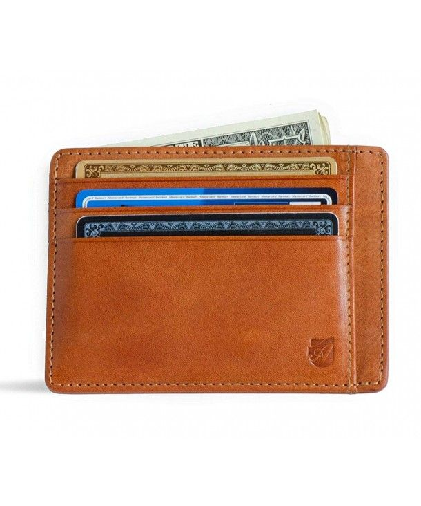 RFID-blocking Front Pocket Wallet from Axess Minimalist Coin Wallet in Tuscany leather