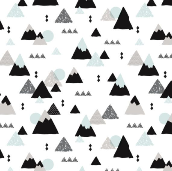 Spoonflower's Geometric Mountains designed by LittleSmileMakers -printed on a variety of cotton fabrics - 1 yard