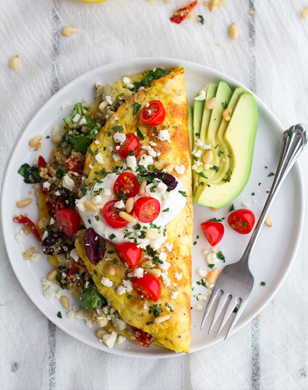 5 Surprising Omelet Fillings That Will Totally Blow Your Mind including a Mashed Potato and Veggie Omelet, Pesto and Roasted Tomato, Greek Salad Omelet, Japanese Omelet, and Chili Cheese Omelet.